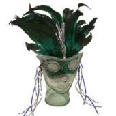 Green Feather Headband And Mask