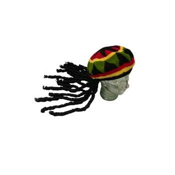 RASTA KNIT CAP WITH DREAD LOCKS