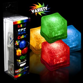 Assorted Color LED Lited Ice Cubes - 4 Pack