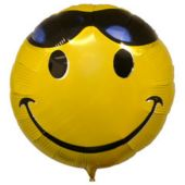 Smiley Face With Sunglasses Metallic Balloon - 18 Inch