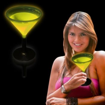 Yellow Glowing Martini Glass and Glow Drinkware