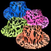 Neon Animal Print Plastic Fedoras - 12 Pack