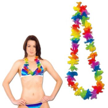 Rainbow Silk Flower Leis - 40 Inch, 12 Pack