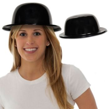 Black Plastic Derby Hats - 12 Pack