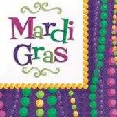 Mardi Gras Bead Party Luncheon Napkins