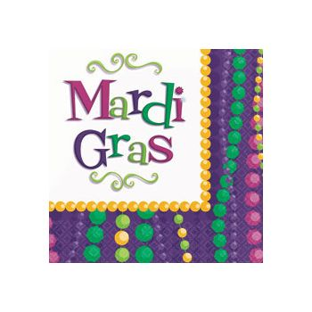 MARDI GRAS BEAD LUNCH NAPKINS