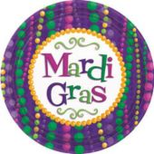 "Mardi Gras Bead Party 7"" Paper Plates - 12 Pack"