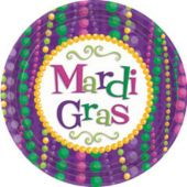"Mardi Gras Bead Party 9"" Paper Plates - 10 Pack"