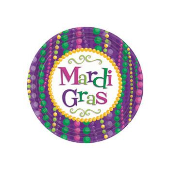 "MARDI GRAS BEAD 9"" PLATES"