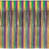Purple, Green & Gold Metallic Fringed Door Curtain