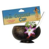 Coconut Cup With Flower And Straw-10oz