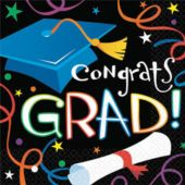 Congrats Grad Theme Party Beverage Napkins - 100 Pack