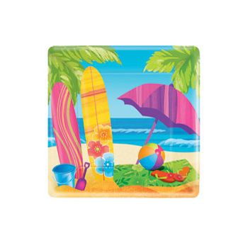"SURF'S UP  7"" SQUARE PLATES"