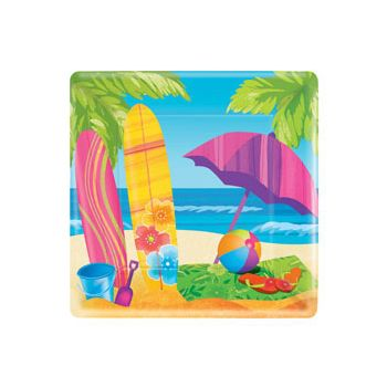 "SURF'S UP 10"" Sq. PLATES"