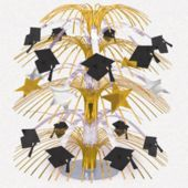 Golden Grad Hats And Stars Centerpiece-18""