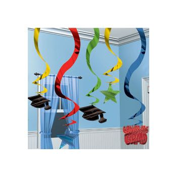 "GRADUATION PARTY   24"" HANGING SWIRLS"