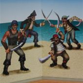 Fighting Pirates On Beach Scene Setter Add Ons