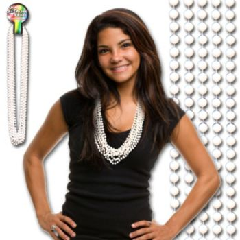 White Bead Necklaces - 33 Inch, 12 Pack