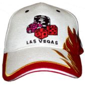 Fiber Optic White Baseball Cap With Las Vegas Dice Logo