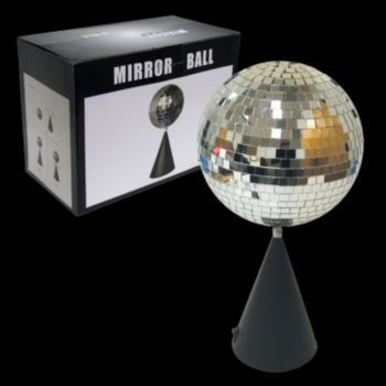 "DISCO 6"" MIRROR BALL   ON ROTATING STAND"