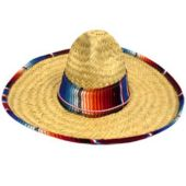 Child Size Mexican Sombreros Trimmed With Serape