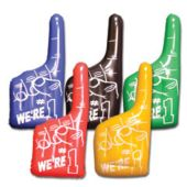 Assorted Color Inflatable #1 Hands - 16 Inch, 12 Pack