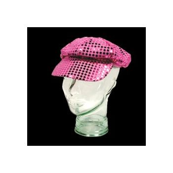 Pink Sequin Newsboy Cap