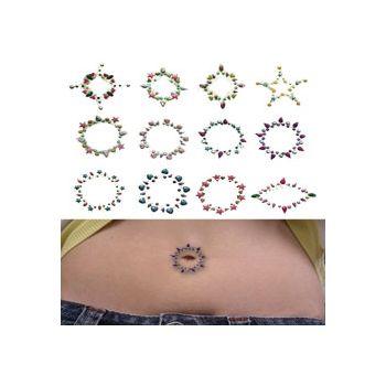 Rainbow Stone Temporary Belly Butoon Tattoos