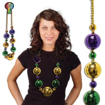 Mardi Gras Jumbo Bead Necklace - 44 Inch