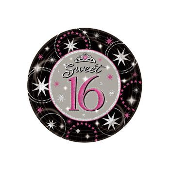 "SWEET 16 SPARKLE   9"" PLATES"