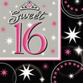 Sweet 16 Sparkle Beverage Napkins - 16 Pack