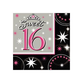 SWEET 16 SPARKLE   BEVERAGE NAPKINS