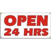 Open 24 Hours Vinyl Banner Business Signs