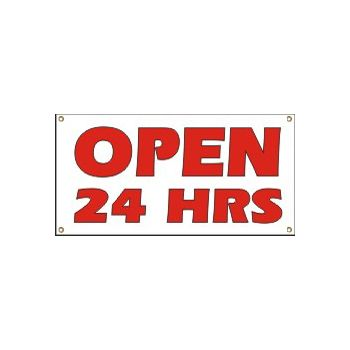 Open 24 Hours Heavy Duty Vinyl Banner Business Signs