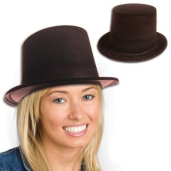 Black Velour Top Hats - 12 Pack