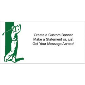 Golfer White Heavy Duty Custom Message Vinyl Banners