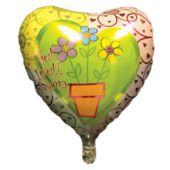 "Get Well Soon Flower Pot Metallic 18"" Balloon"