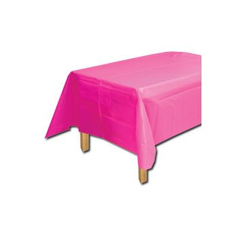 NEON PINK SOLID  PLASTIC TABLE COVER