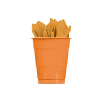 ORANGE SOLID   16 oz. PLASTIC CUPS