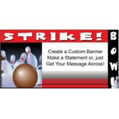 Bowling Party Custom Message Vinyl Banner