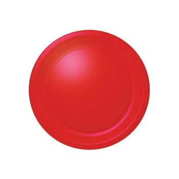 "RED SOLID  10 12"" BANQUET PLATES"