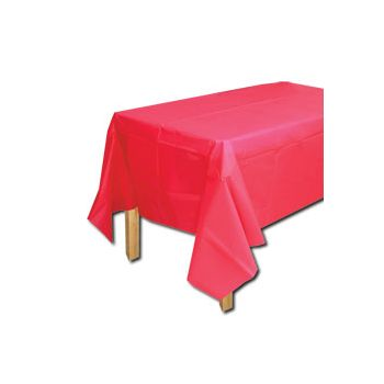 RED SOLID  PLASTIC TABLE COVER