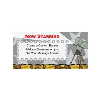 Hollywood Party Now Starring Custom Message Vinyl Banners
