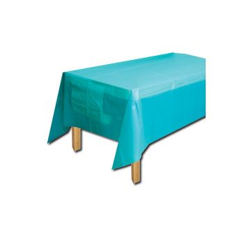 OCEAN BLUE SOLID   PLASTIC TABLE COVER