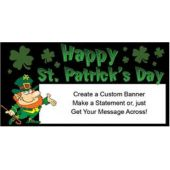 Happy St Patricks Day Leprechaun Custom Vinyl Banner