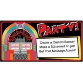 Rock And Roll Jukebox Party Custom Message Vinyl Banner