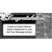 Congratulations Grey And Black Custom Message Vinyl Banner