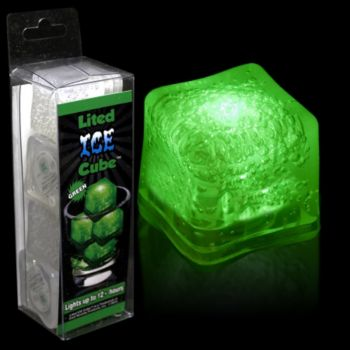 Green LED Lited Ice Cubes - 4 Pack