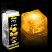 Yellow LED Lited Ice Cubes-4 Pack