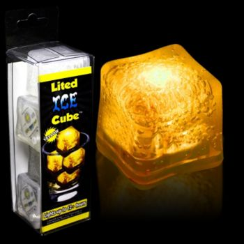 Yellow LED Lited Ice Cubes - 4 Pack